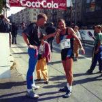 Běchovice 1992, rozhovor v cíli s přítelem Rýdlem